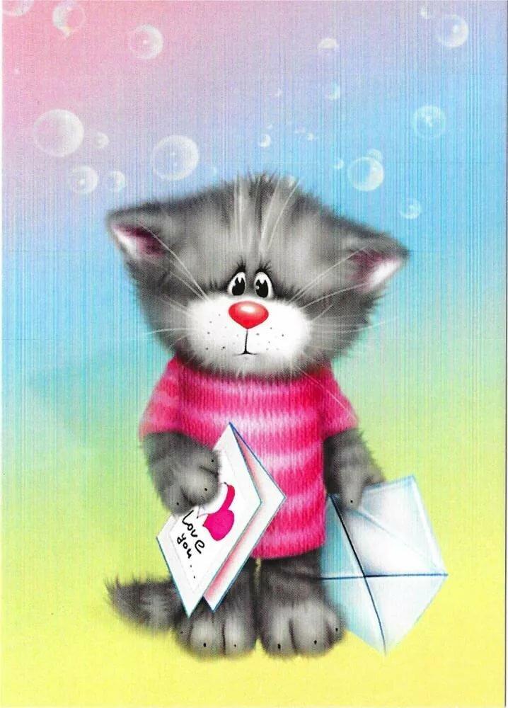 открытка котик с письмом крупные