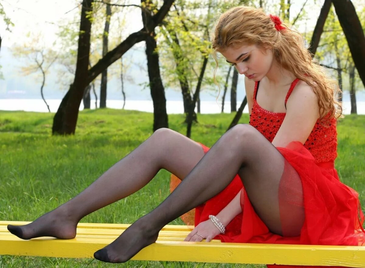 Young model in nylons