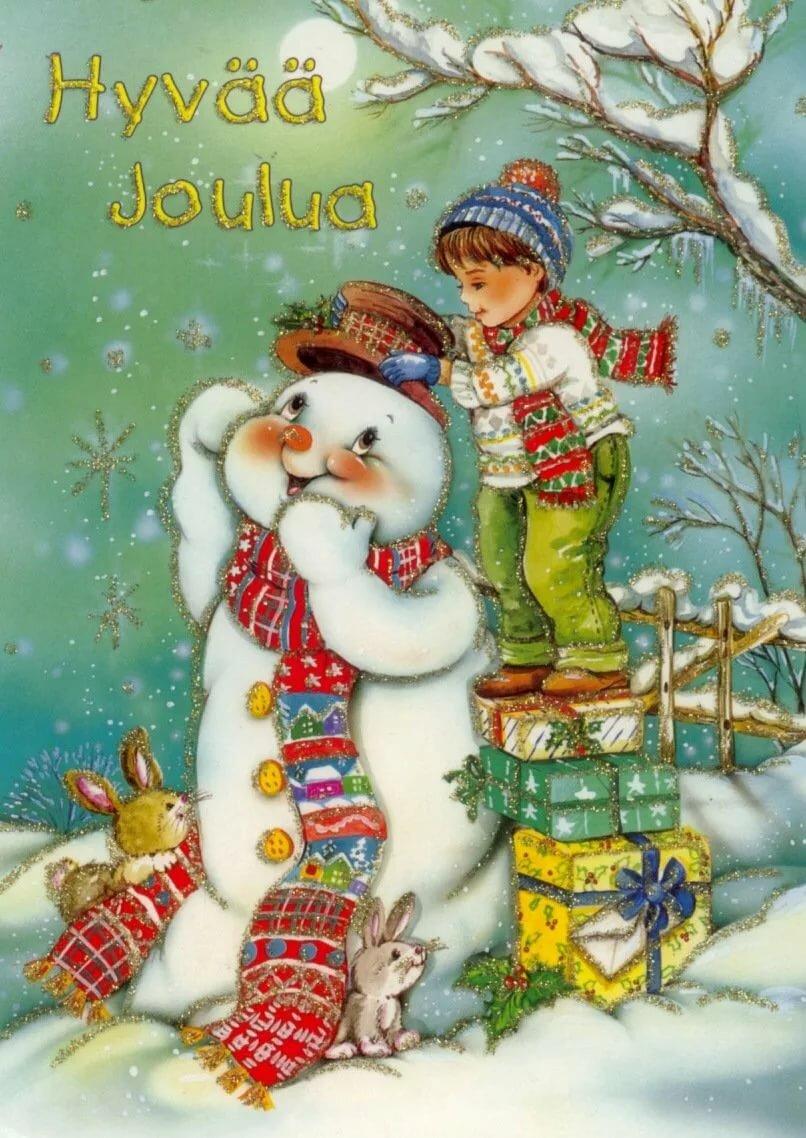 Снеговики старые открытки