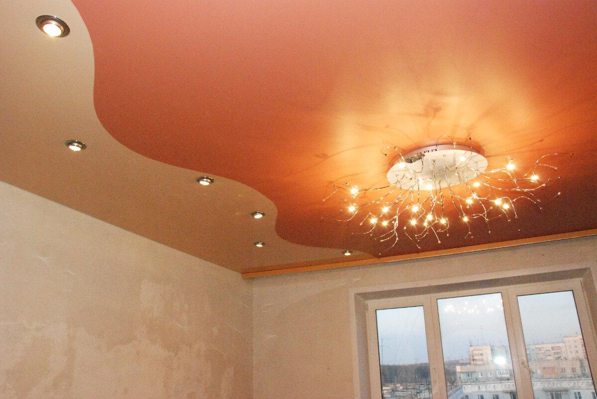 фото натяжные потолки картинки для зала глянцевый одноярусный его подруги