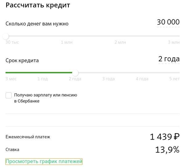 Калькулятор кредита в рублях
