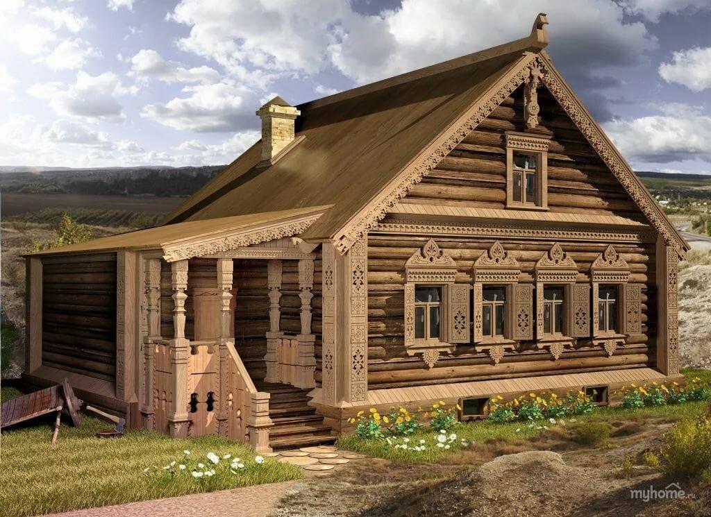 Картинки домов из бревен в старину