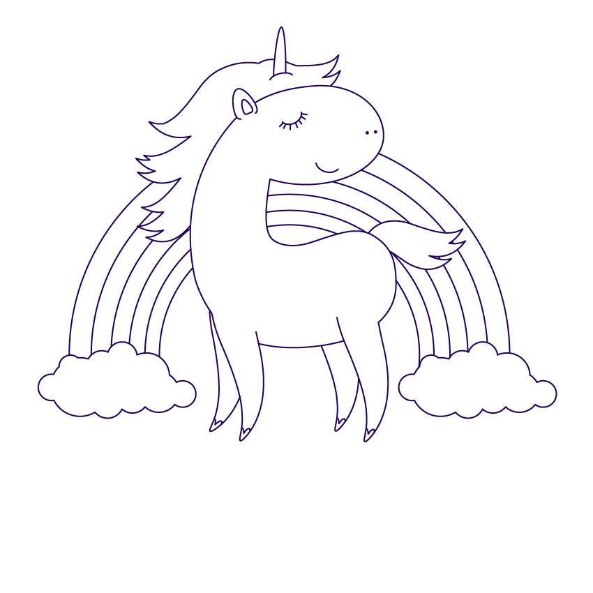 Единорог рисунки черно белые