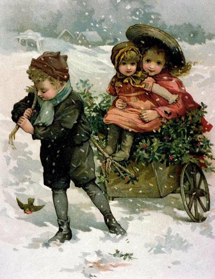 Зимние открытки ретро