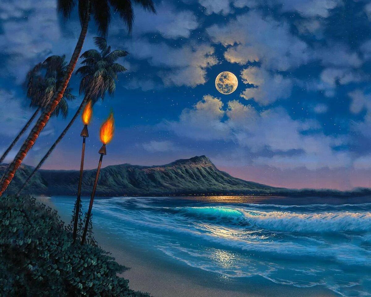 Красивые открытки море и луна, открытки