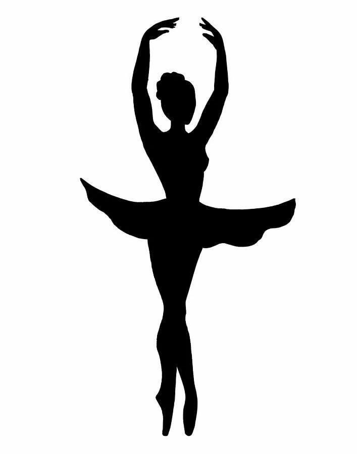 картинка балерина контур черный широком