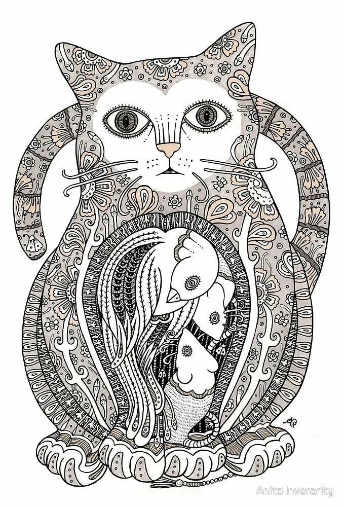 Коты с узорами картинки