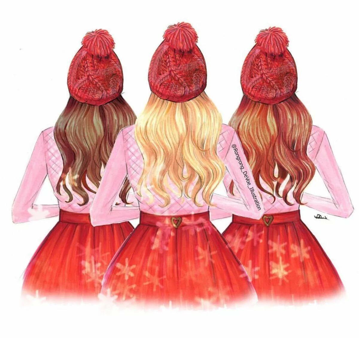Картинка с тремя девушками прикольные нарисованные, большая открытка своими