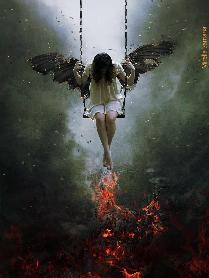 картинка ангел на качелях раскрасьте