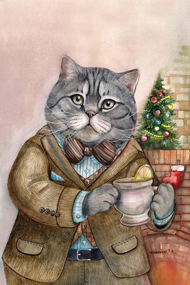Арт открытки коты