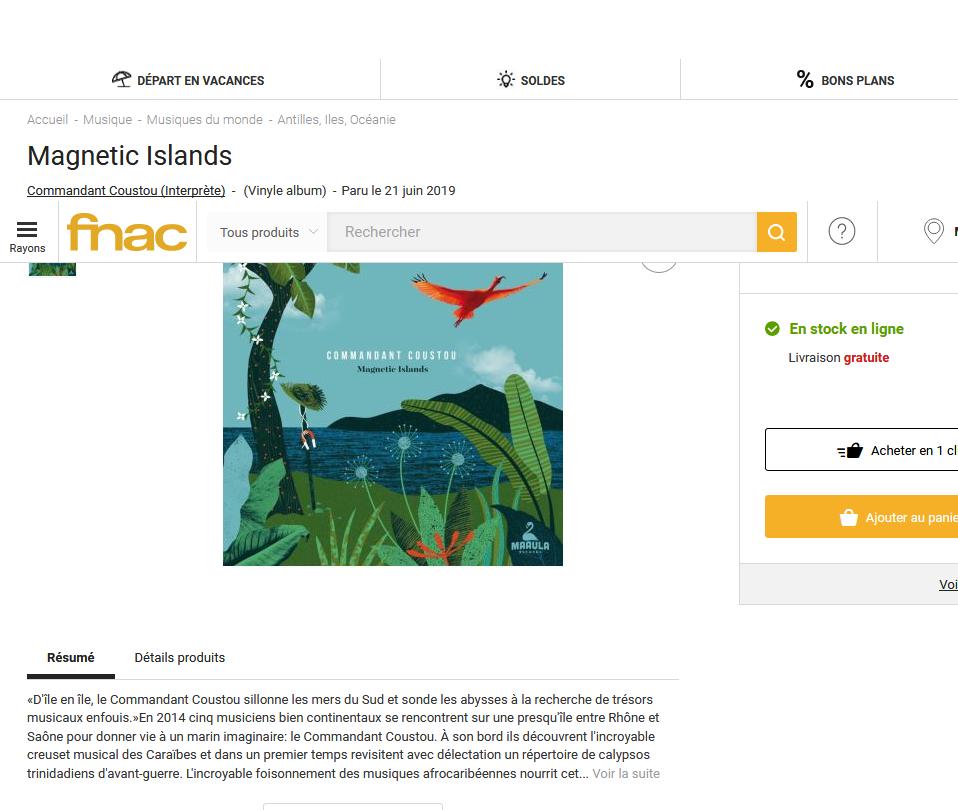 fnac presente : Commandant Coustou - Magnetic Islands  S1200