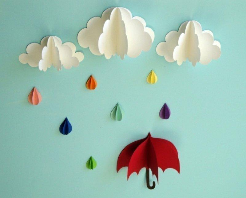 Воскресенье прикольные, открытка зонтики объемные с облаками