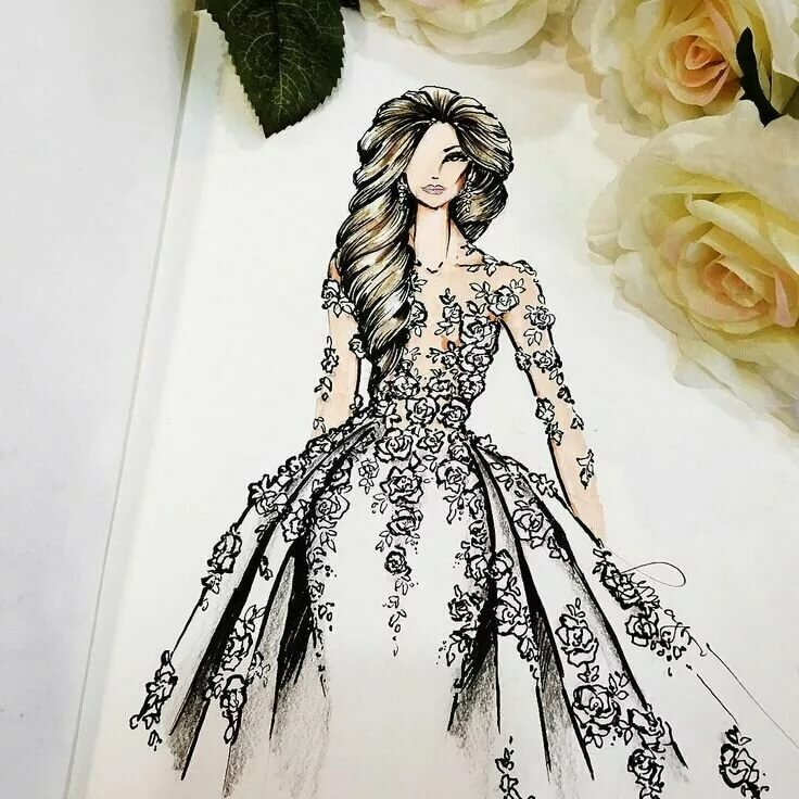 Модные платья рисунки карандашом