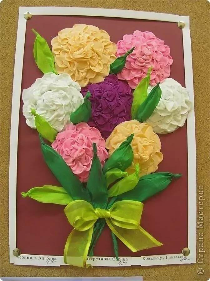 Открытка с цветочками из цветной салфетки открытки на день матери, прикольные картинки