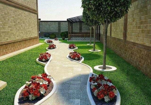 Цветы, камни и зелёный газон отличная идея для ландшафта.