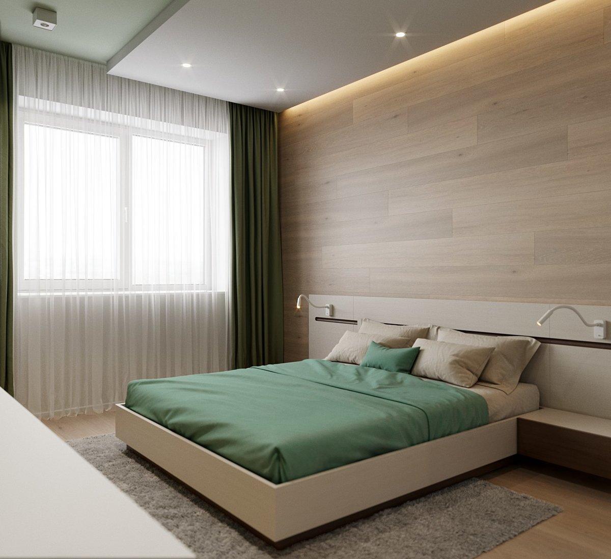 первый дизайн спальни в зеленых коричнево белых тонах фото ноутбуке встроенная