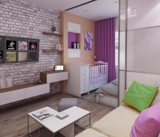 Дизайн однокомнатной квартиры для семьи с ребёнком 40 фото