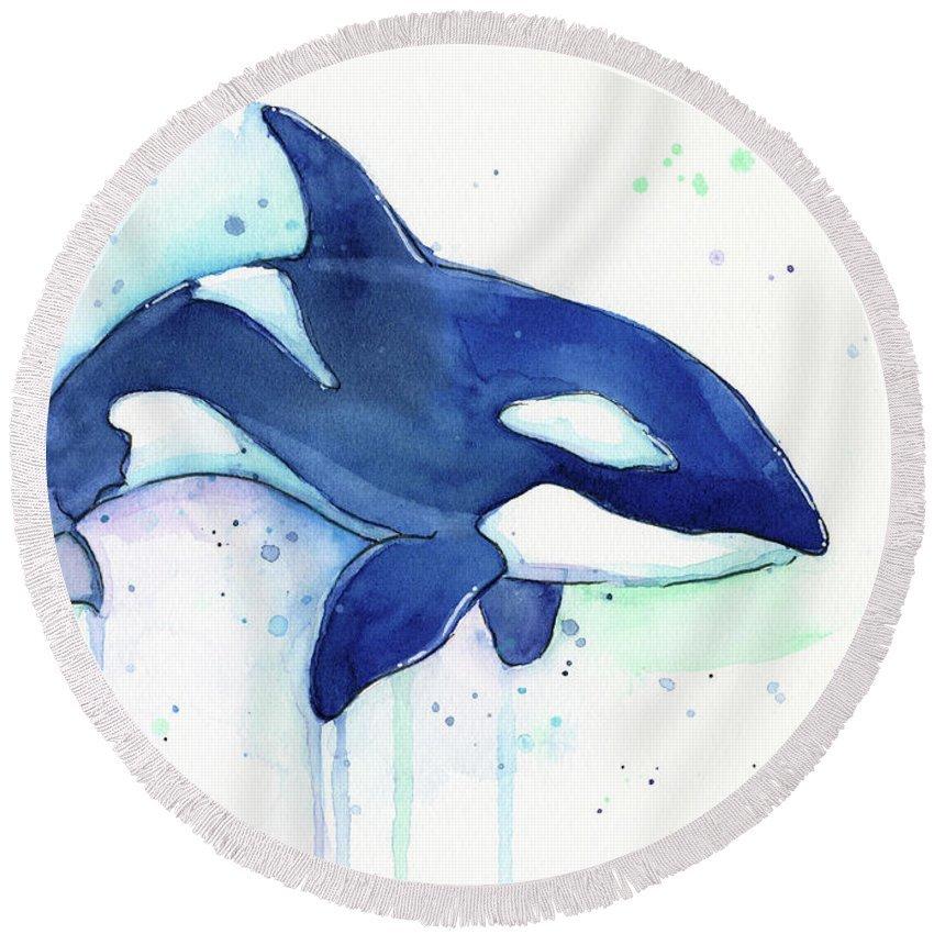 Дельфины картинки нарисованные акварелью