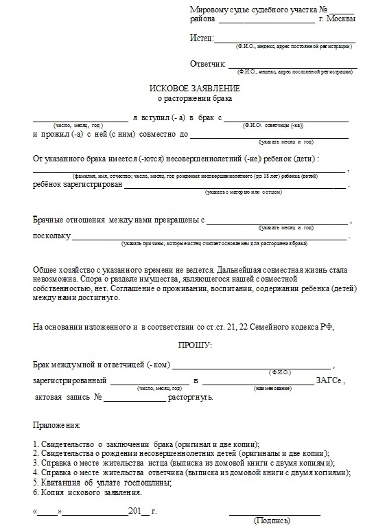 Заявление на развод в мировой суд: бланк, образец на алименты.