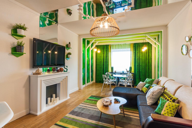 Зеленый цвет для гостиной