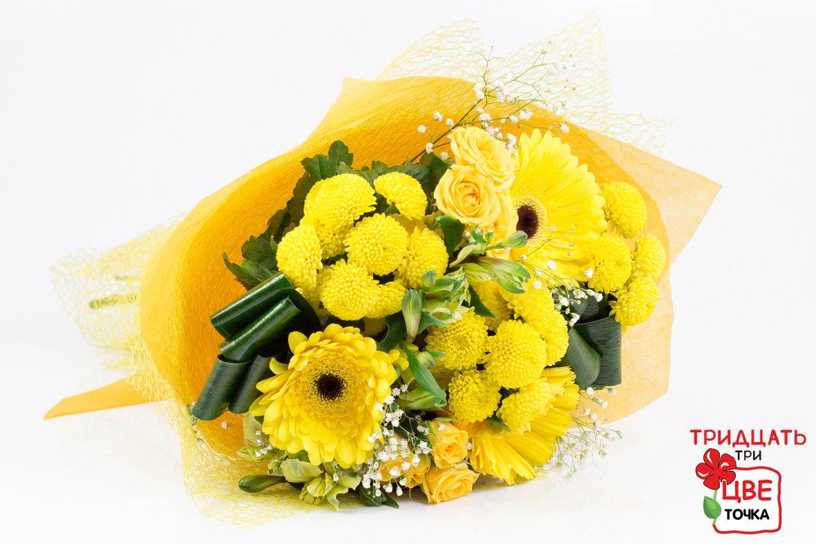 Букет из герберов белых и желтых роз