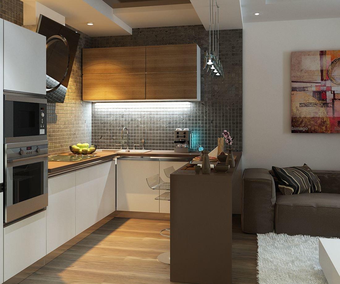 Кухня гостиная 14 кв м с диваном - дизайн фото.