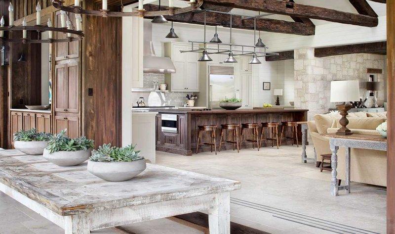 Бирюзовый цвет в интерьере кухни - столовой.