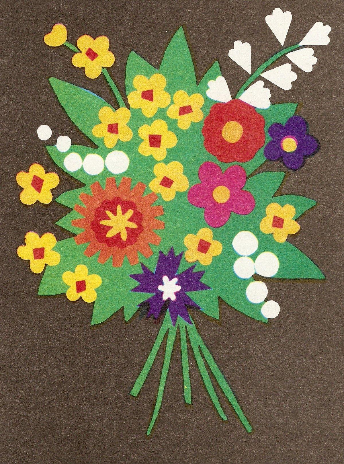 Картинки аппликация цветы из цветной бумаги