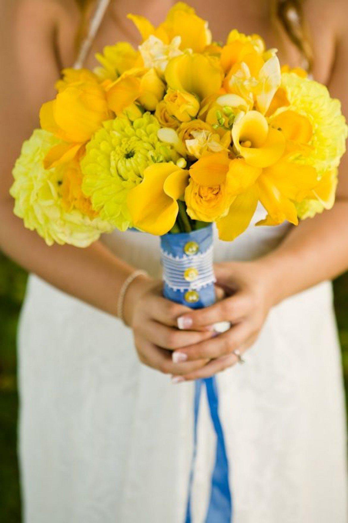 Свадебный букет бирюзовый с желтым, синий букет
