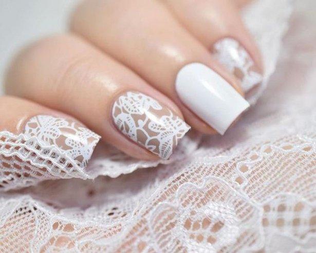 Кружевные ногти на свадьбу фото