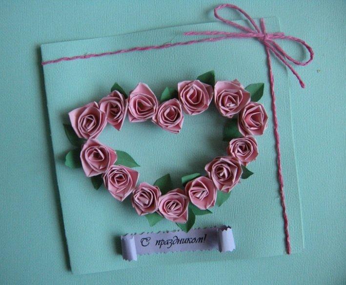 Открытки своими руками из бумажных роз