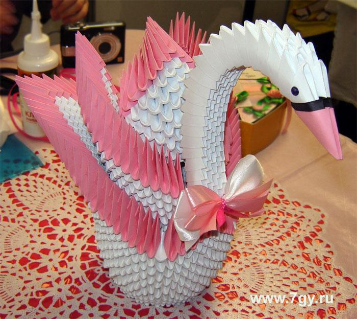 модульное оригами лебедь двойной схема сборки