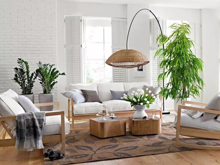 Светлая гостиная со свежей зеленью