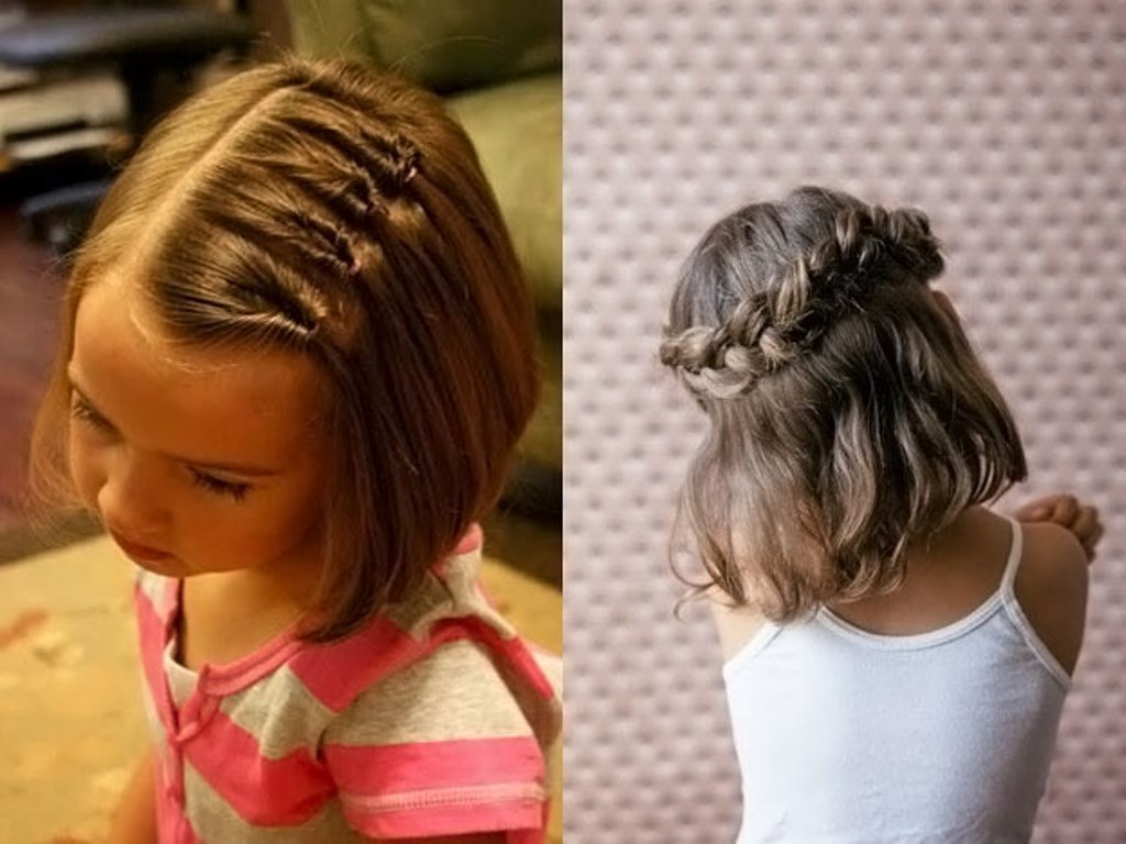 Один же, убирающий пряди от личика, тоже практичная детская прическа для коротких волос.