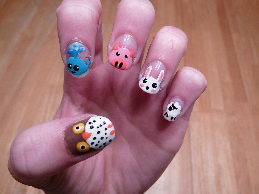 Прикольные рисунки животных на ногтях, открытка хочу дочку