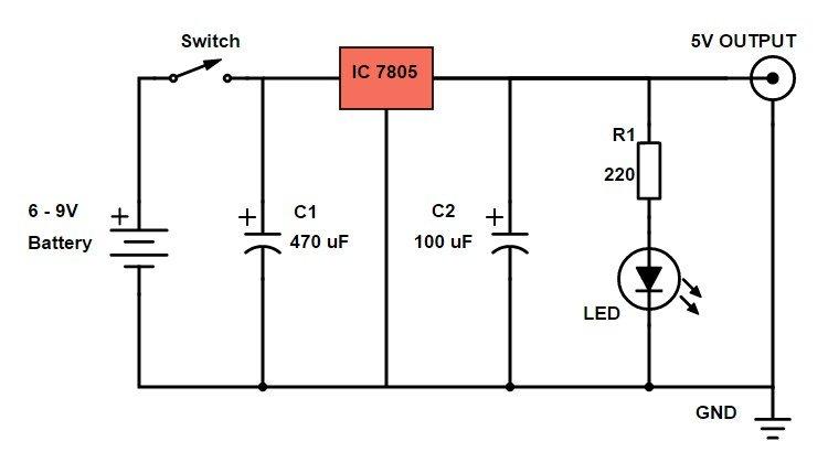 diy power bank circuit diagram using 7805 voltage regulator ic rh yandex com 7805 ic circuit diagram 7805 circuit diagram pdf