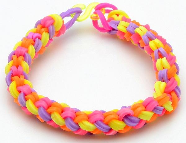 Схемы плетения, как плести браслеты из резинок rainbow loom bands.