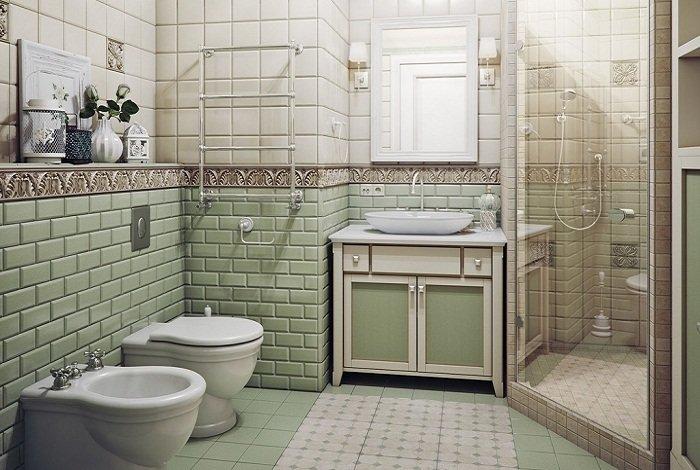 Ванная в стиле прованс. При оформлении использована плитка белого и светло зеленого цвета.