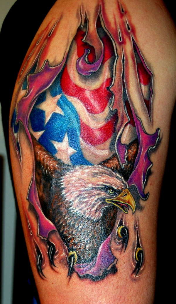Interest Tattoo Ideas And Design American Flag And Eagle Ripped