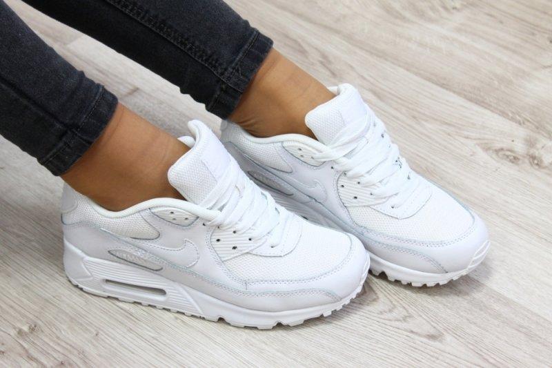 Кроссовки женские nike air max 90 premium white/metallic silver.