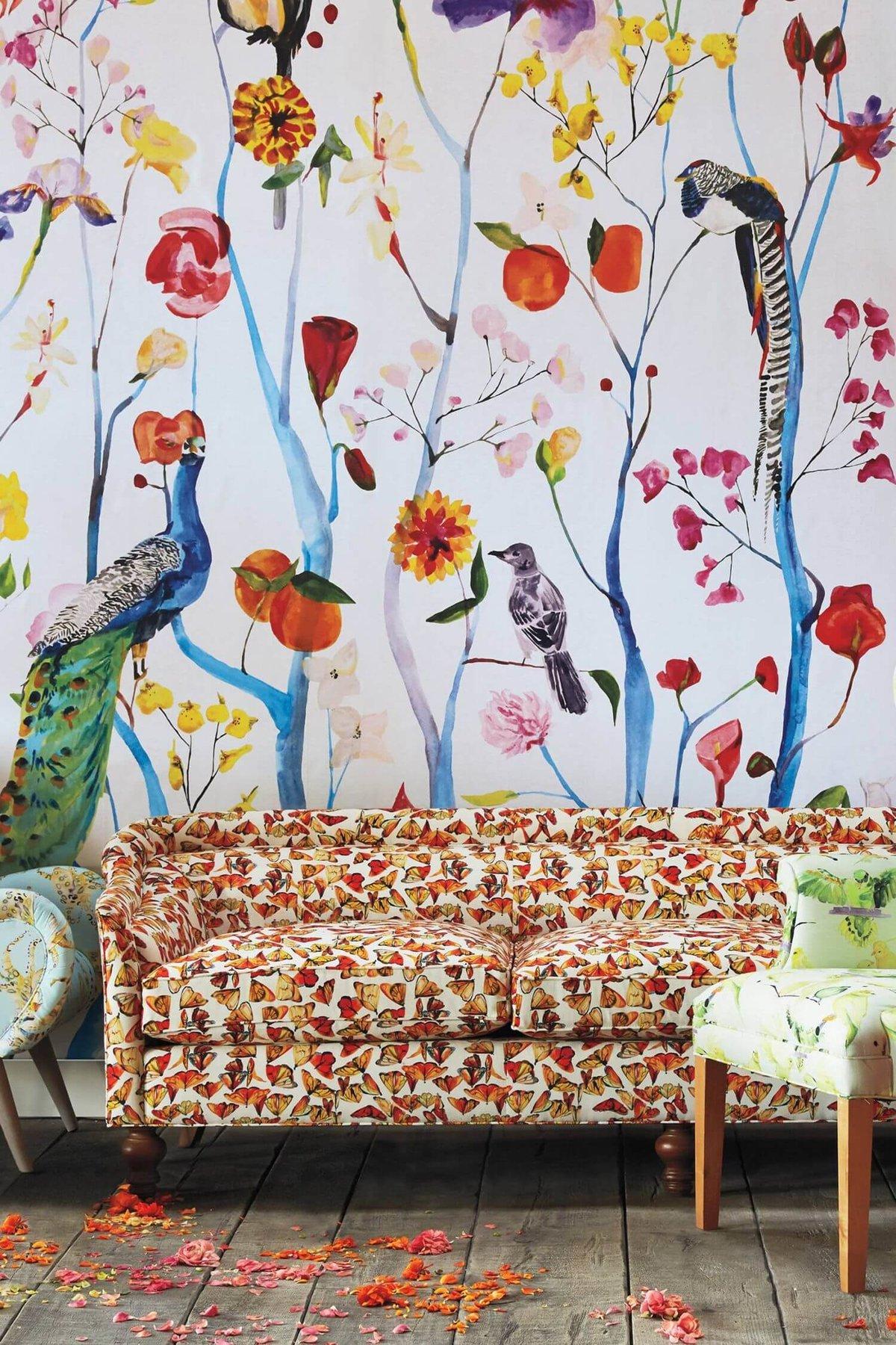 цветами фото стены и расписные
