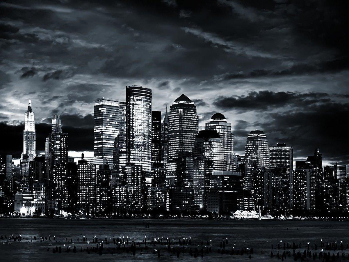 Ночной город картинки высокого качества черно белые