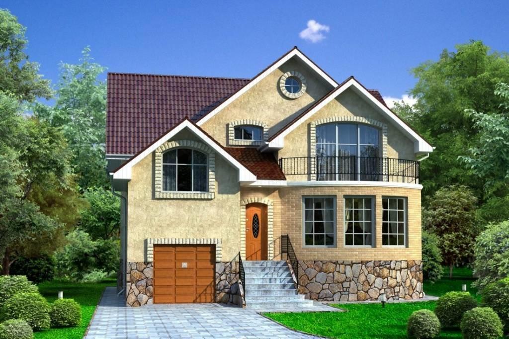 Проекты домов с гаражом и с эркером: двухэтажного, с мансард.