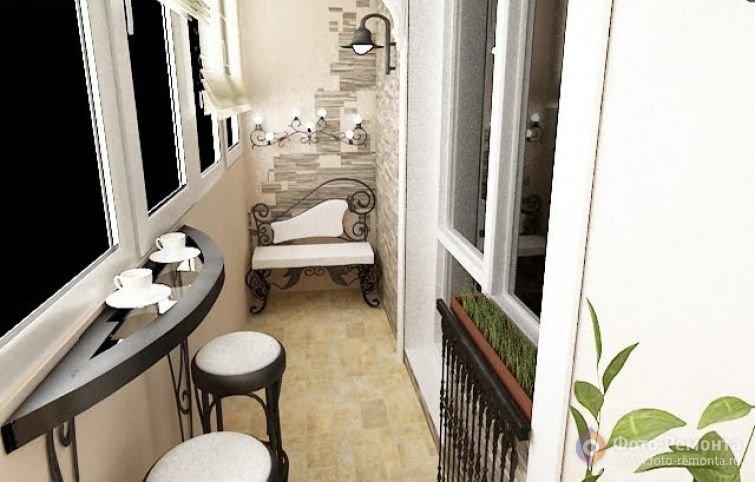 """Интерьер балкона с кофейным столиком."""" - карточка пользовате."""