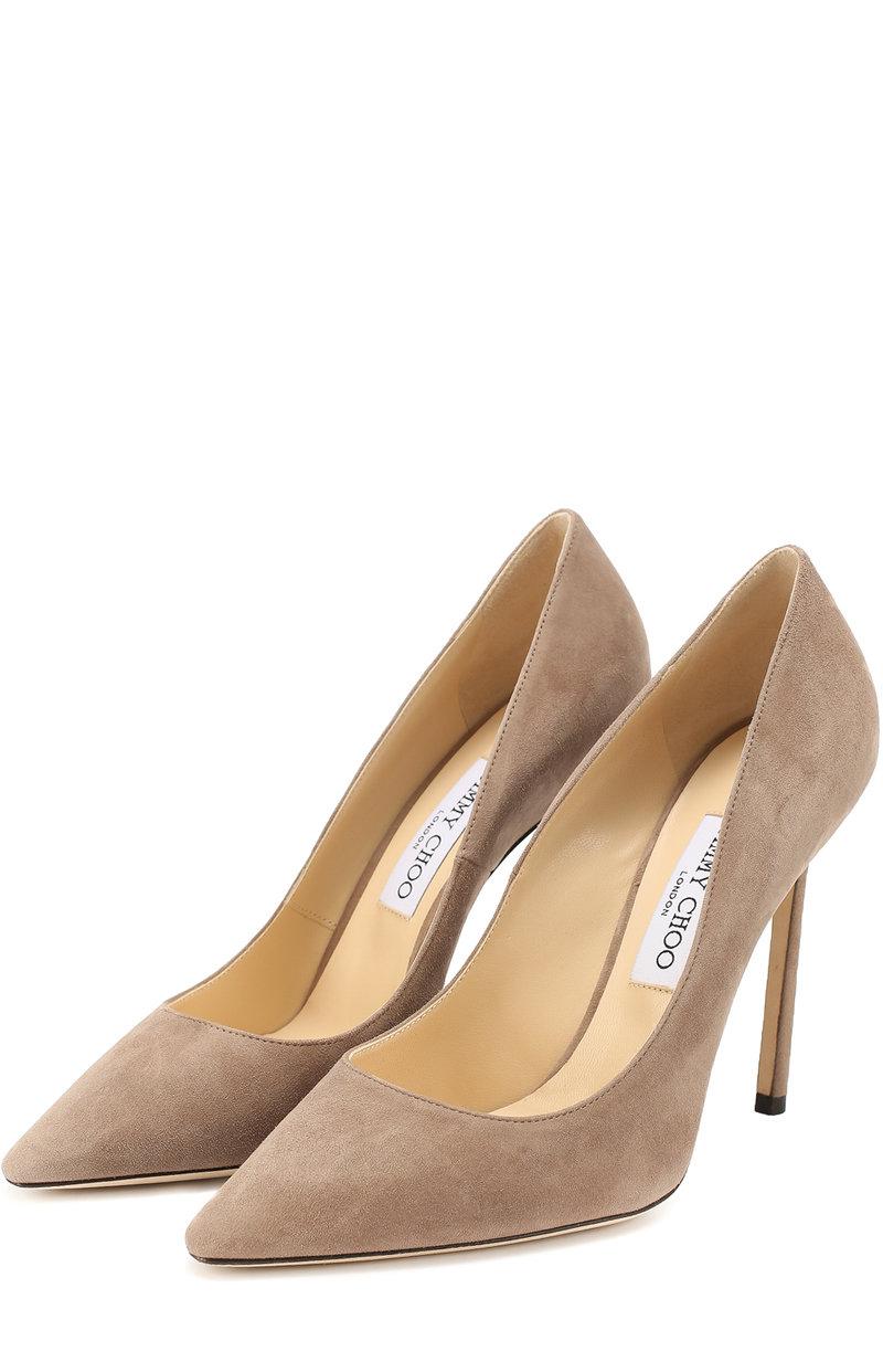 Женские бежевые замшевые туфли  на шпильке Jimmy Choo