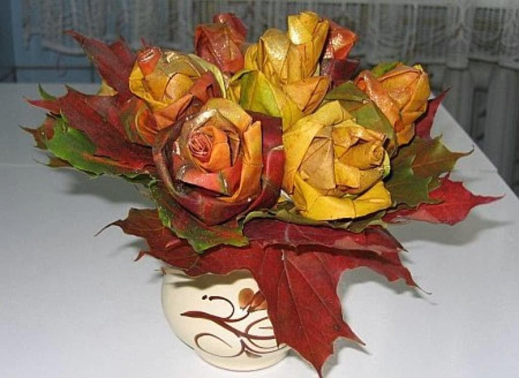 Оригинальные букет из листьев деревьев, цветы подарить