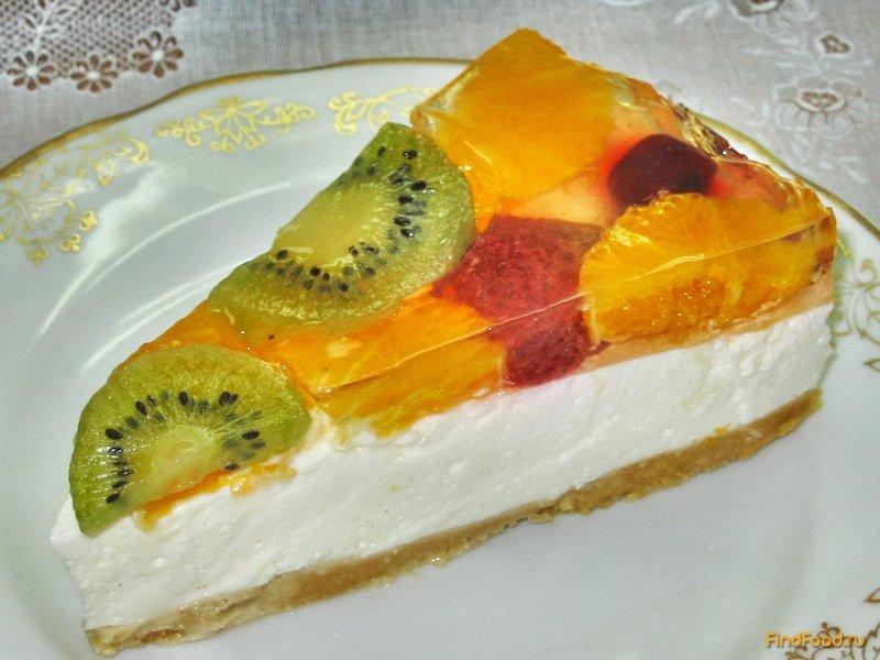 Торт желейный с фруктами и бисквитом пошаговый