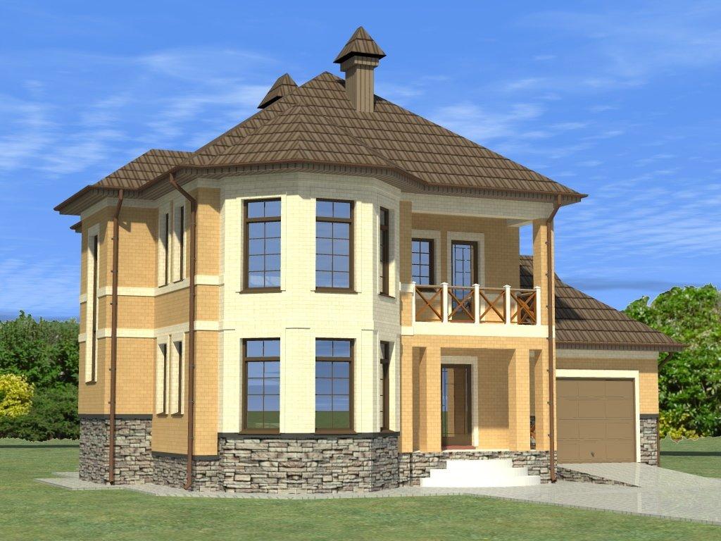 Двухэтажный жилой дом с пристроенным гаражом и верандой обще.