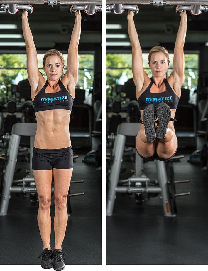 Еще одно упражнение для тренировки пресса. Его уникальность заключается в том, что нагрузка смещается на нижнюю часть живота. И хоть при его выполнении работает вся прямая мышца живота, но все же, акцент смещен на нижнюю ее часть. Есть два варианта выполнения этого упражнения (мы не учитываем скручивания в стороны для косых мышц): подъем прямых и подъем согнутых ног в коленях. При подъёме прямых ног работают прямые мышцы бедер и напрягатели широких фасций. При подъеме ног согнутых в коленях – прямая мышца живота.  Для выполнения упражнения повисните на перекладине, взявшись за нее средним или широким хватом. Поднимите ноги (прямые или согнутые в коленях), чтобы образовался прямой угол между ними и корпусом. Вернитесь в исходное положение.