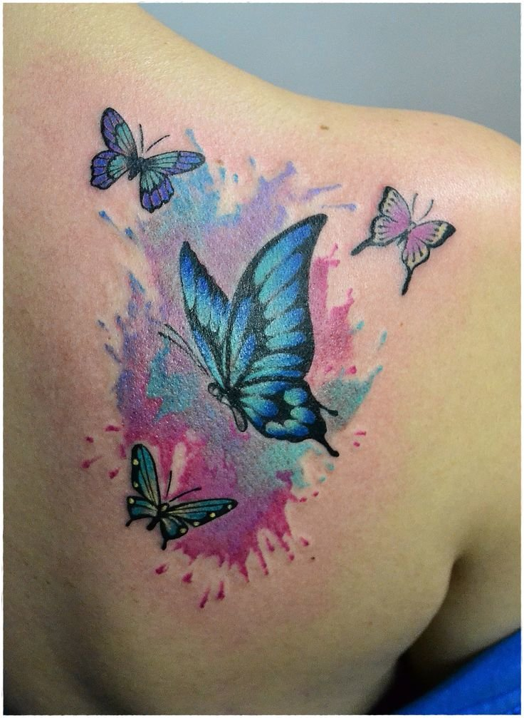 watercolor tattoo butterfly - 736×1007